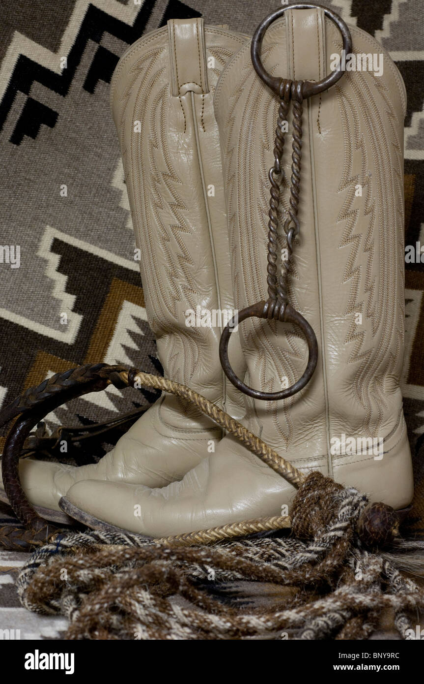 d6aae5d3d63 Western leather cowboy boots with hand made bosal & horsehair rope ...