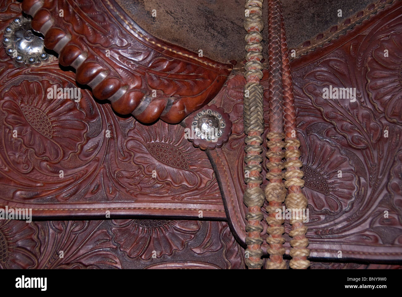 Custom made hand-tooled western show saddle with sterling silver conchos. Hand braided romel reins with rawhide - Stock Image