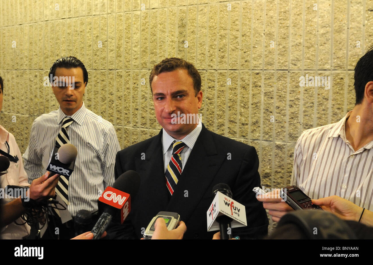 Sharif El-Gamal, CEO of Soho Properties, at an impromptu press conference regarding 45-47 Park Place in Manhattan. - Stock Image