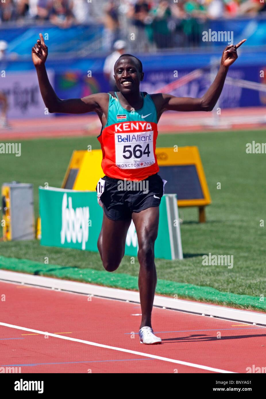 David Kiprotich Bett of Kenya wins the men's 5000 metres at the 2010 IAAF World Junior Championships July 24, - Stock Image