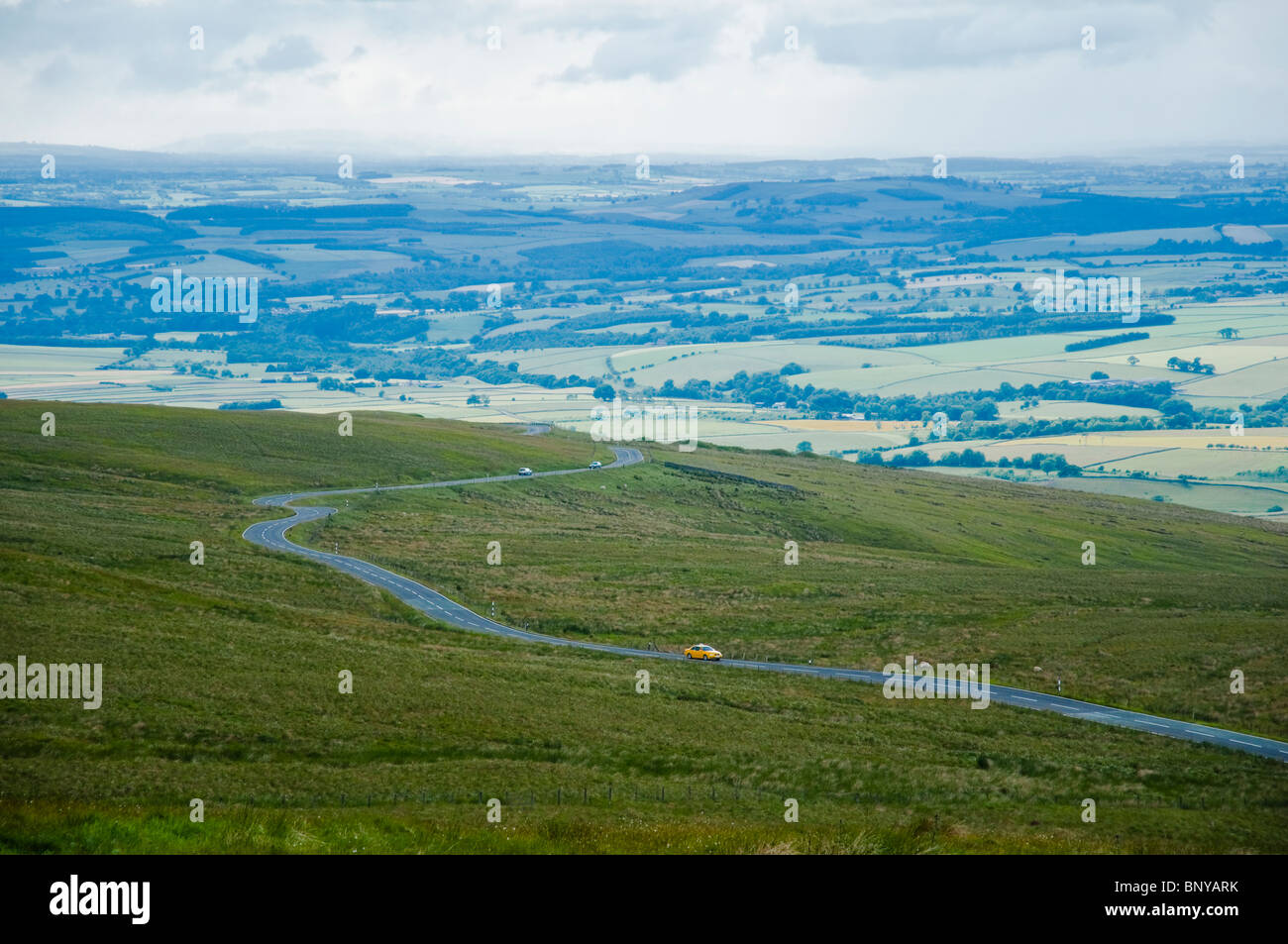A view over moorland to the Eden Valley, Cumbria - from Hartside Top. England, UK - Stock Image