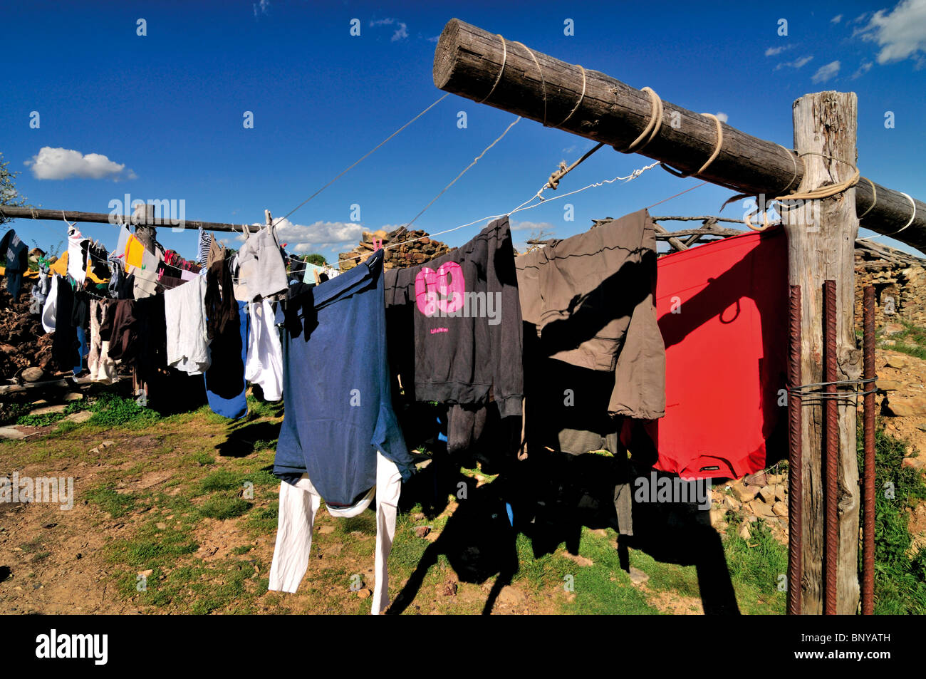 Spain, St. James Way: Pilgrim´s laundry in Foncebadón - Stock Image