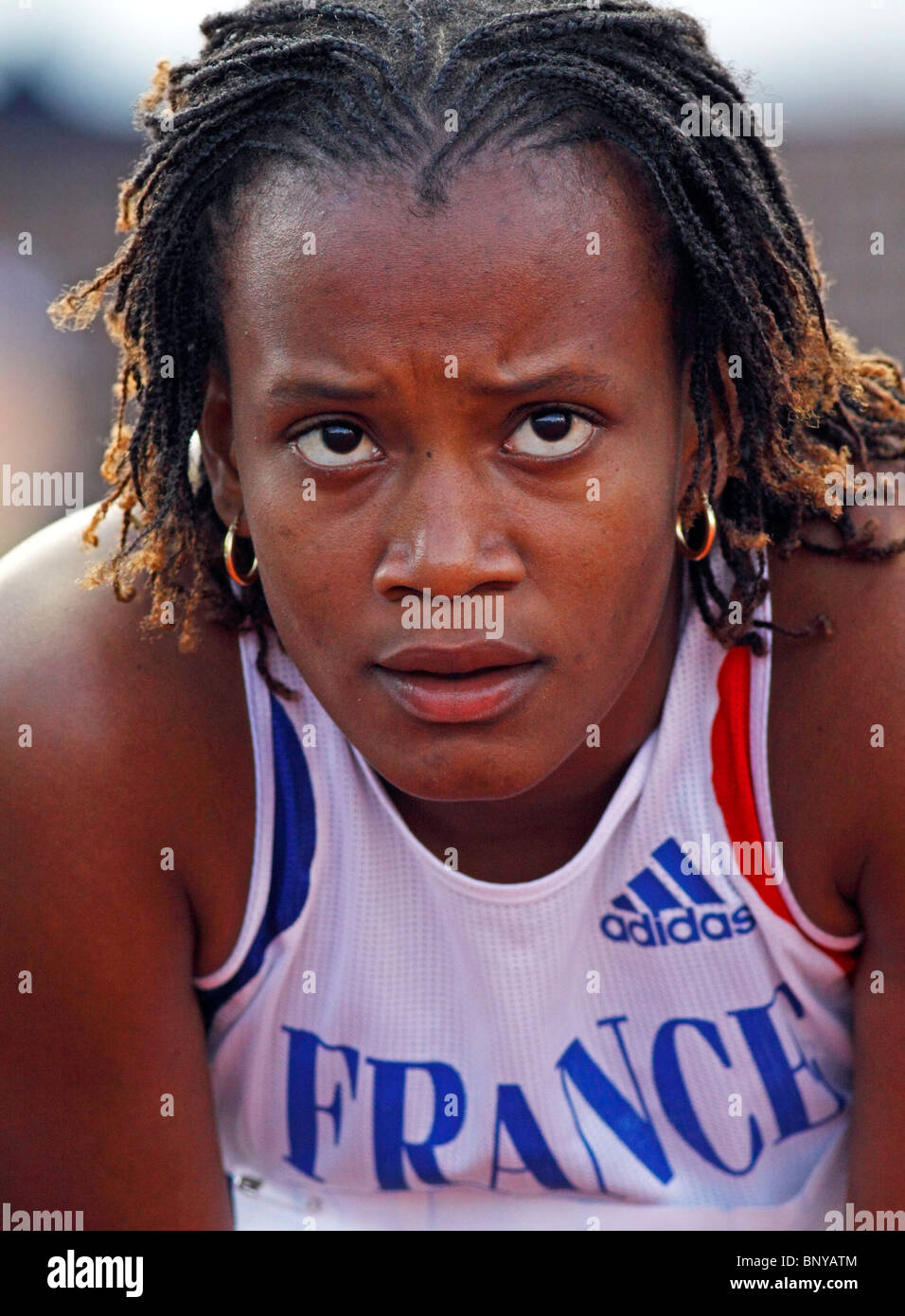 Jessica Alcan of France awaits her time in women's 100-metre hurdles at the 2010 IAAF World Junior Championships - Stock Image