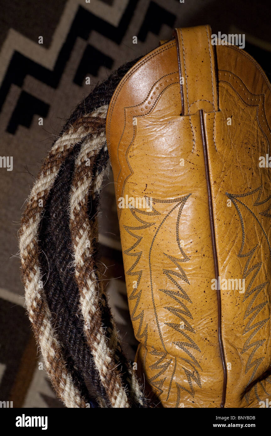 ce4722e5b02 Western leather cowboy boot with horsehair rope (aka mecate) on ...