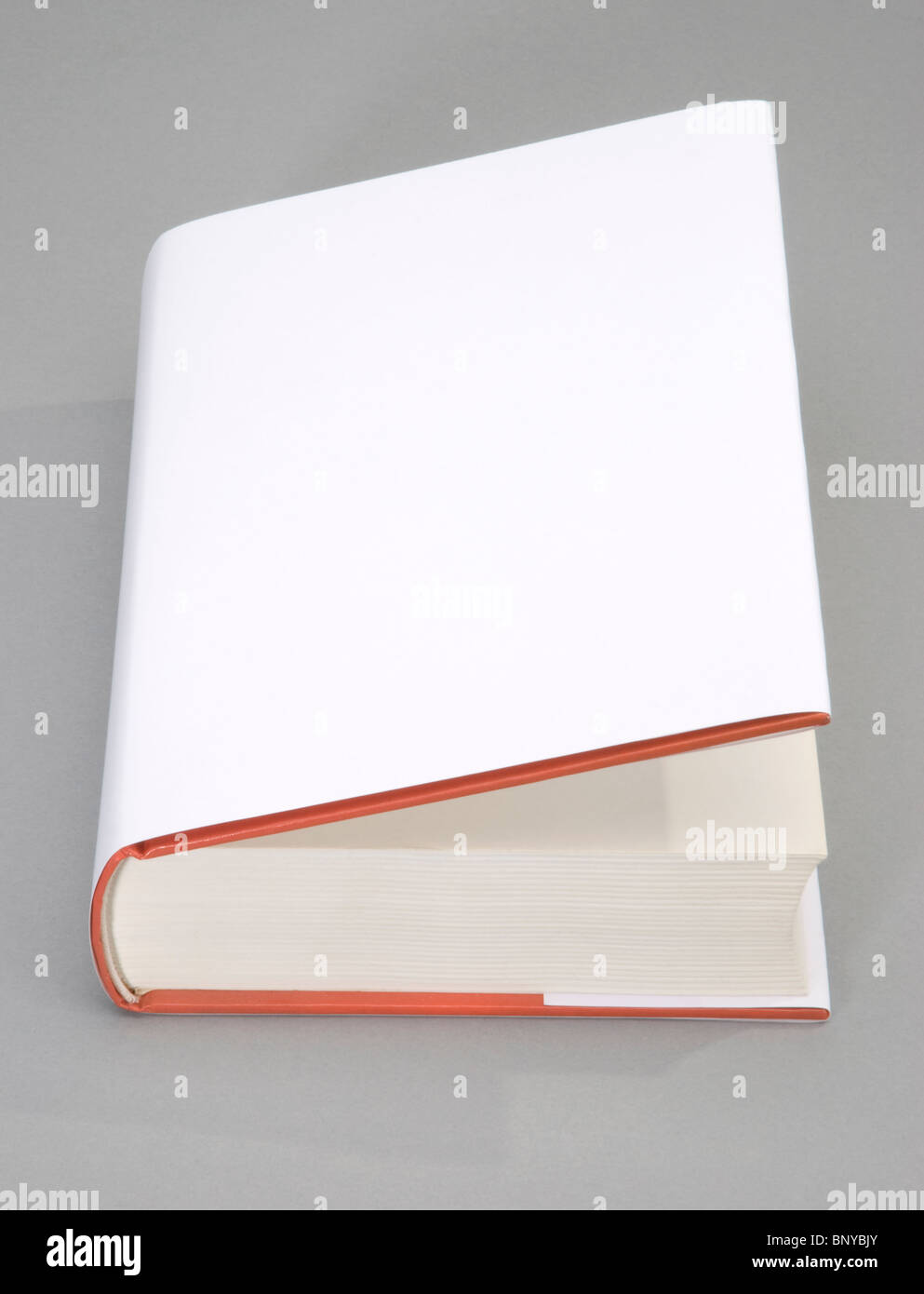The opened Blank book with white cover - Stock Image