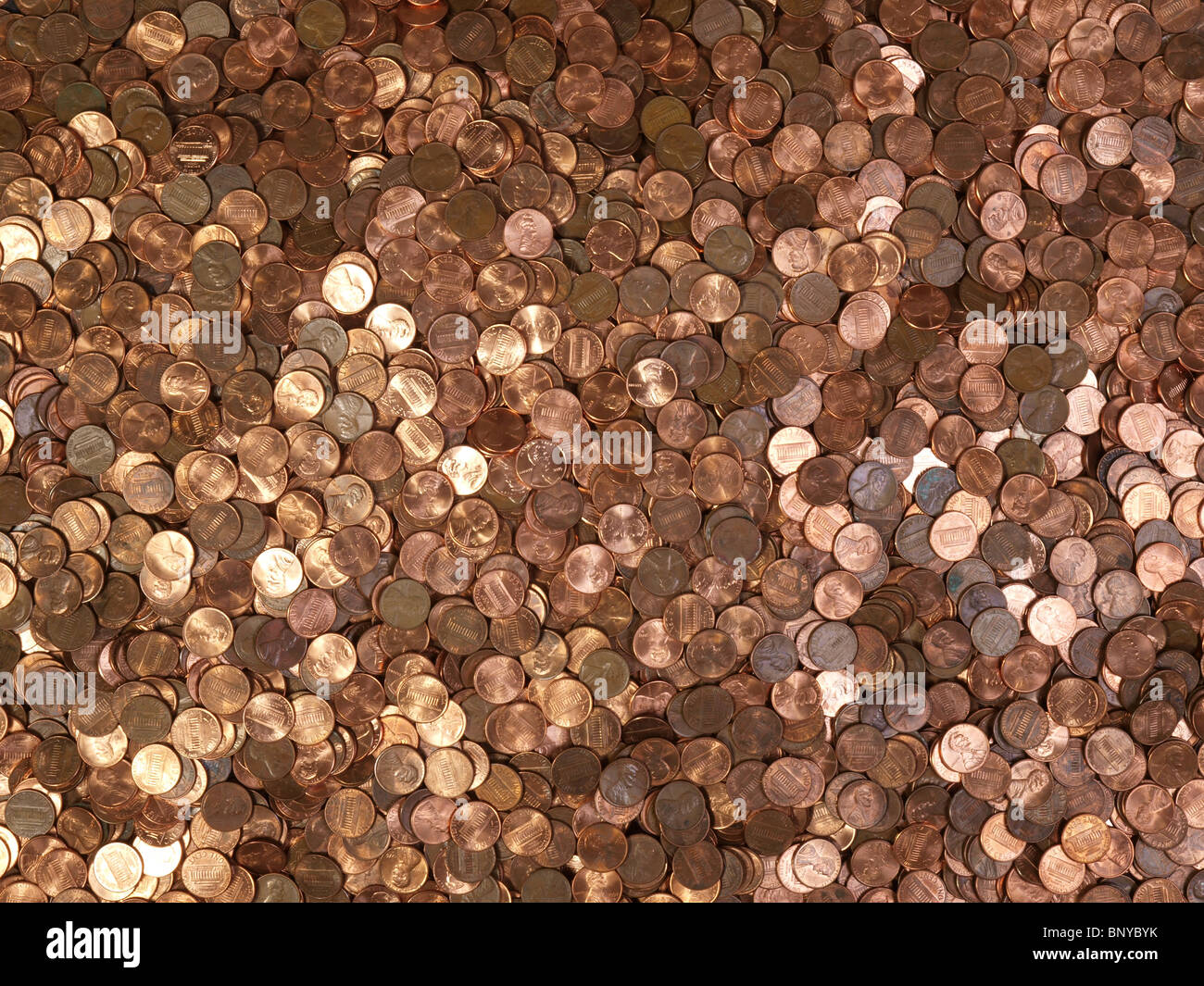 Large pile of shinny American Lincoln pennies. Stock Photo