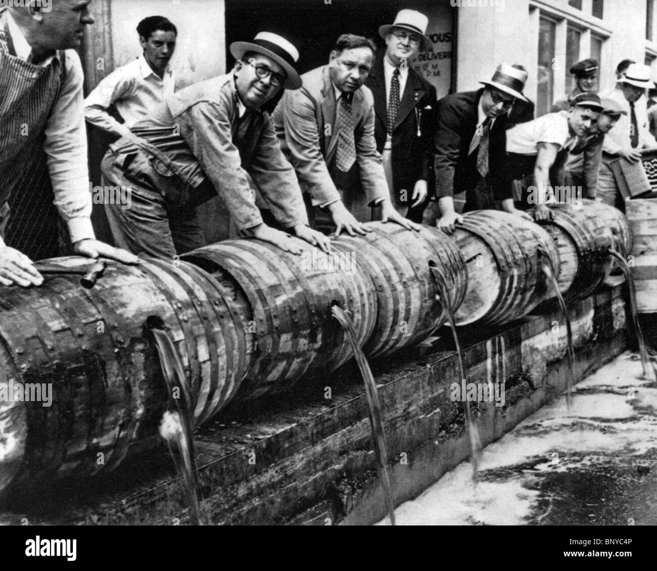 US PROHIBITION  US agents enforcing the law against bootleg liquor in the 1930s - Stock Image