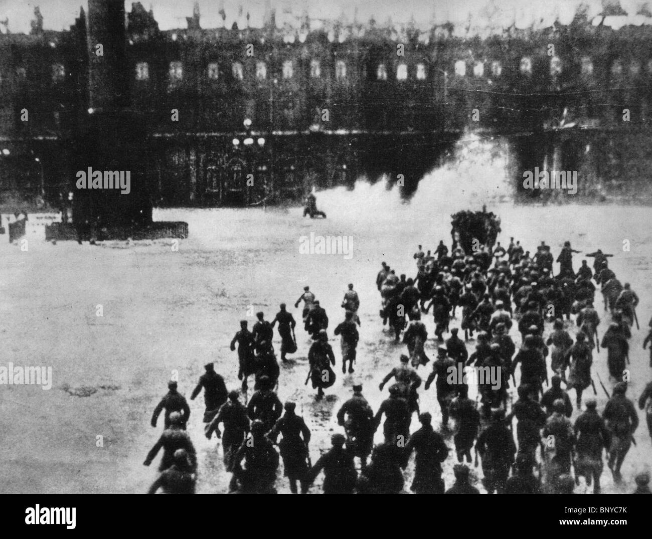 OCTOBER  1927 film directed by Sergei Eisenstein shows the storming of the Winter Palace in St Petersburg on October 25-26 1917 Stock Photo
