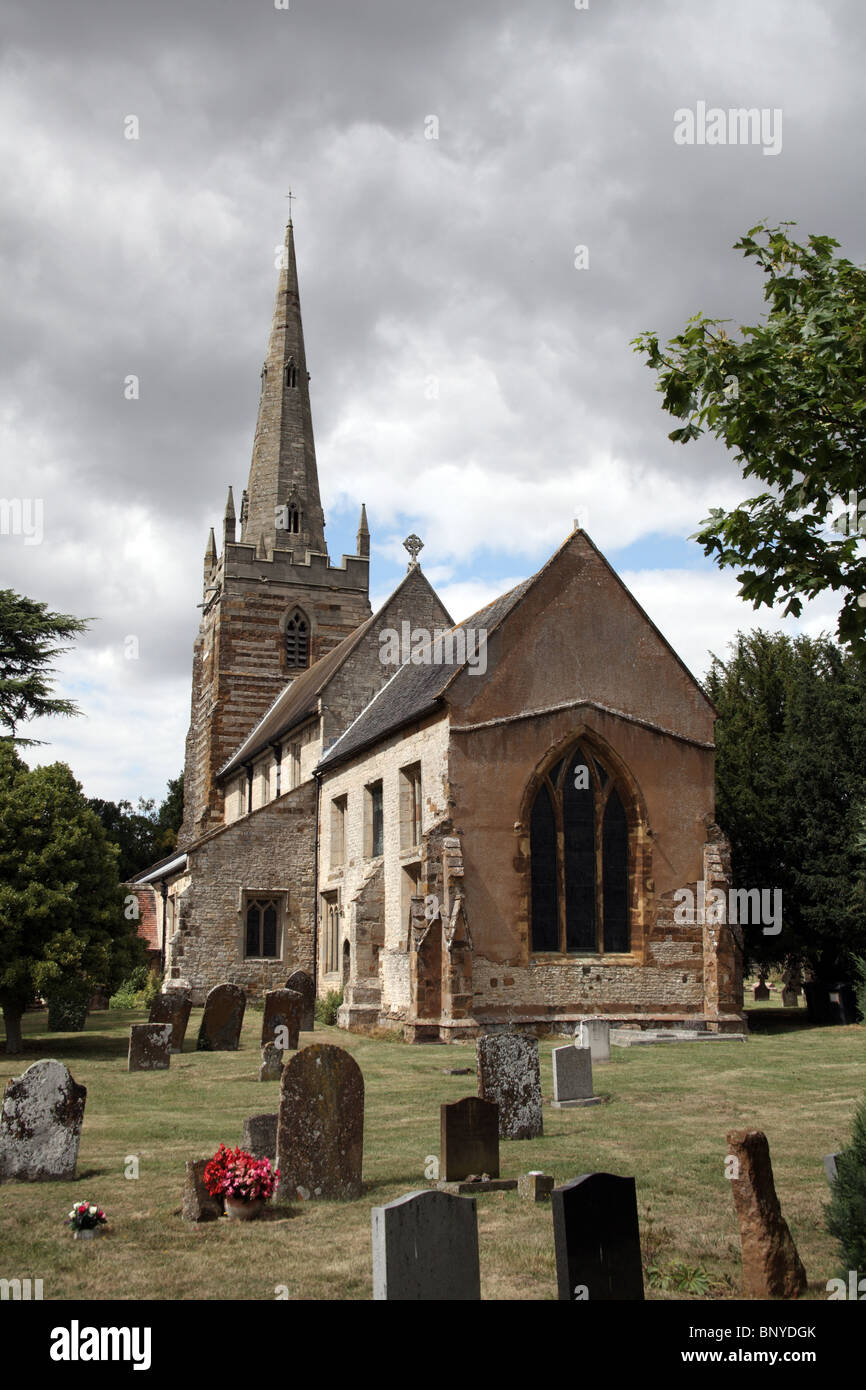 All Saints Church, Ladbroke, Warwickshire; The village is close to the proposed route of the HS2 High Speed Rail Stock Photo