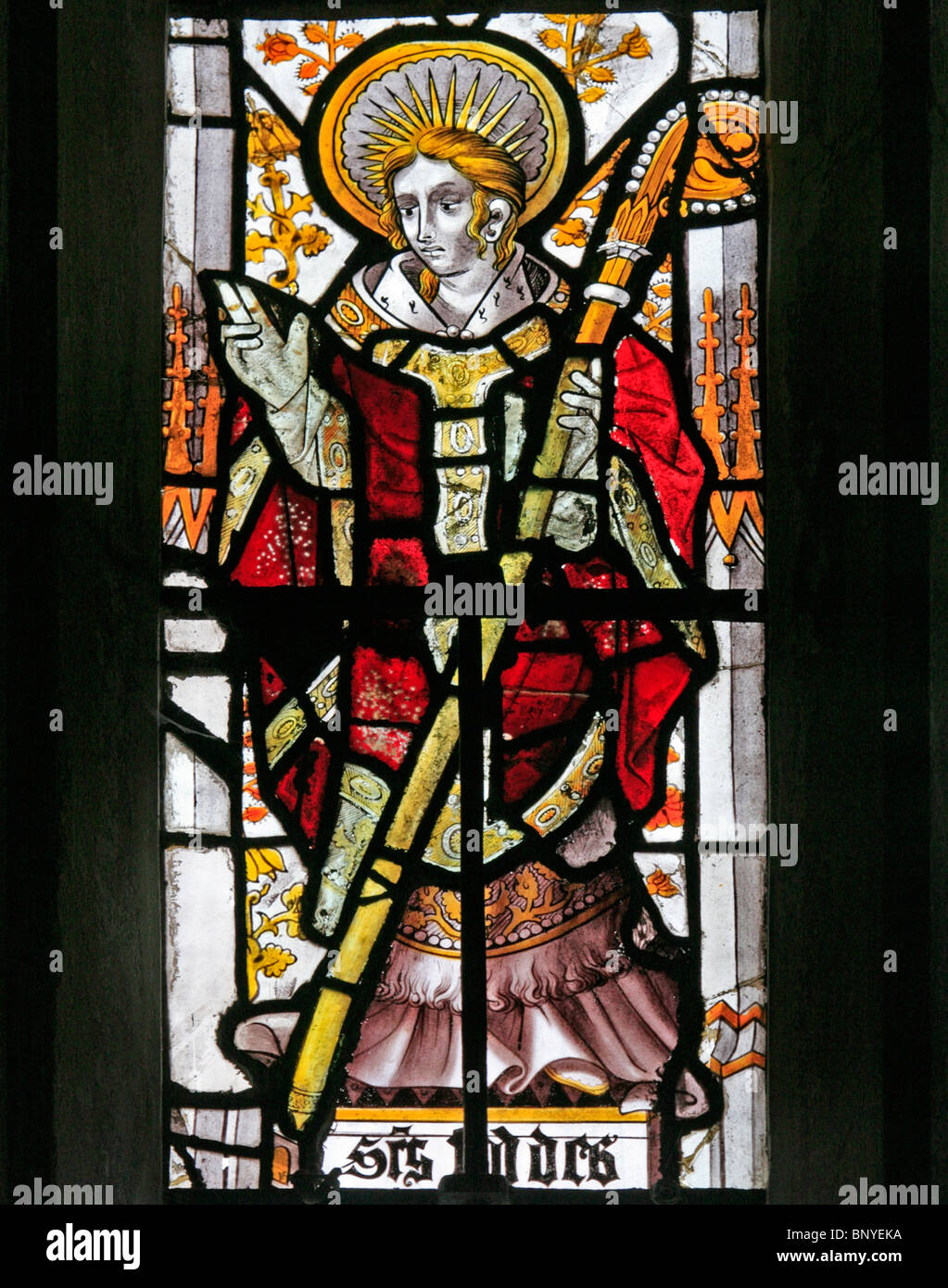A 16th century stained glass window thought to have come from Germany depicting Saint Chad or Ceadda - Stock Image