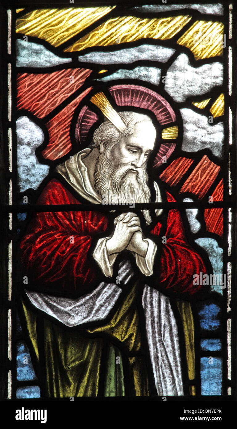 A stained glass window depicting Moses, All Saints Church, Ladbroke, Warwickshire Stock Photo