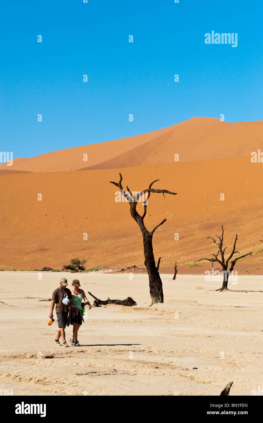 Tourists visiting the Dead Vlei of Sossusvlei in Naukluft Park Central Namib desert Namibia - Stock Image