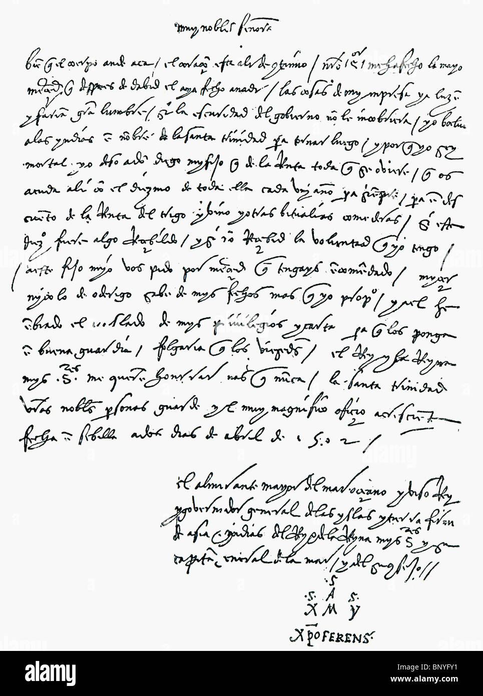 Facsimile of the letter from Christopher Columbus to the Bank of St. George, April 2, 1502. - Stock Image