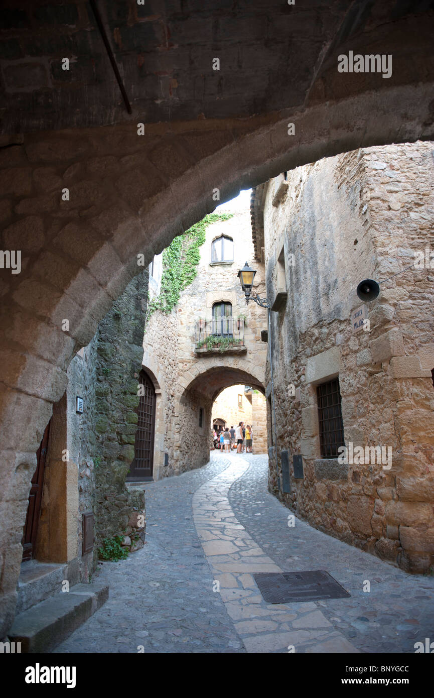 Medieval town of Pals in Girona, Spain. Stock Photo
