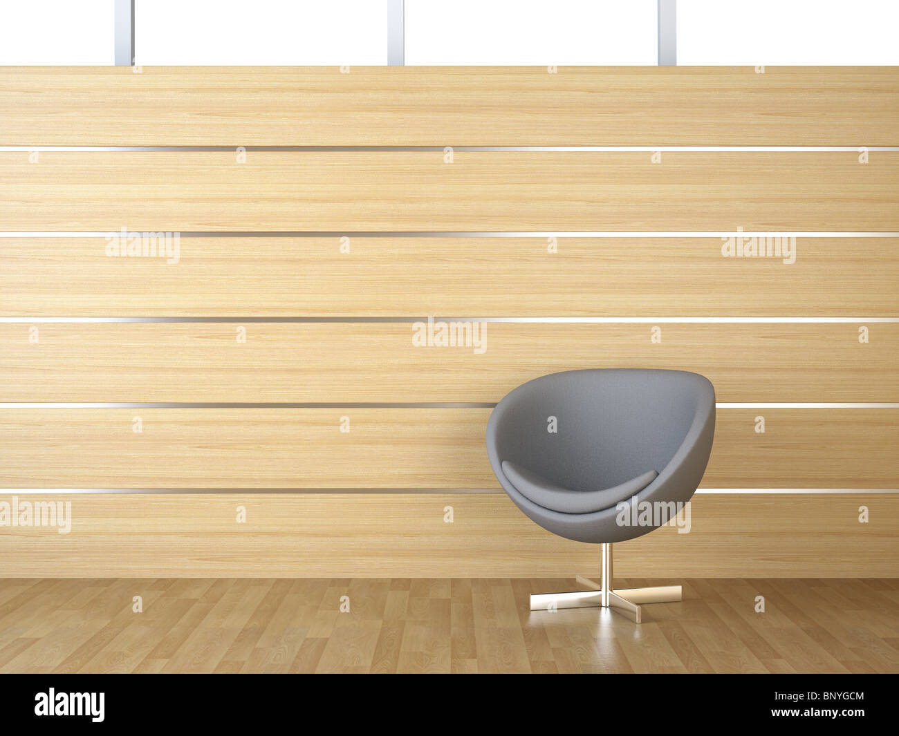 Interior Design Of Wood Cladding Wall With Gray Modern Armchair Stock Photo Alamy