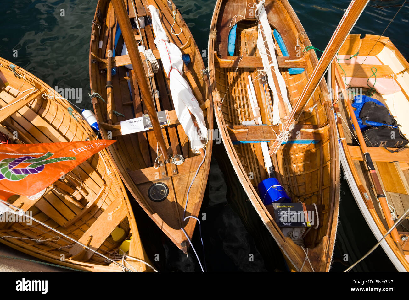 Wooden boats at Constitution Dock, during the Wooden Boat Festival.  Hobart, Tasmania, AUSTRALIA Stock Photo
