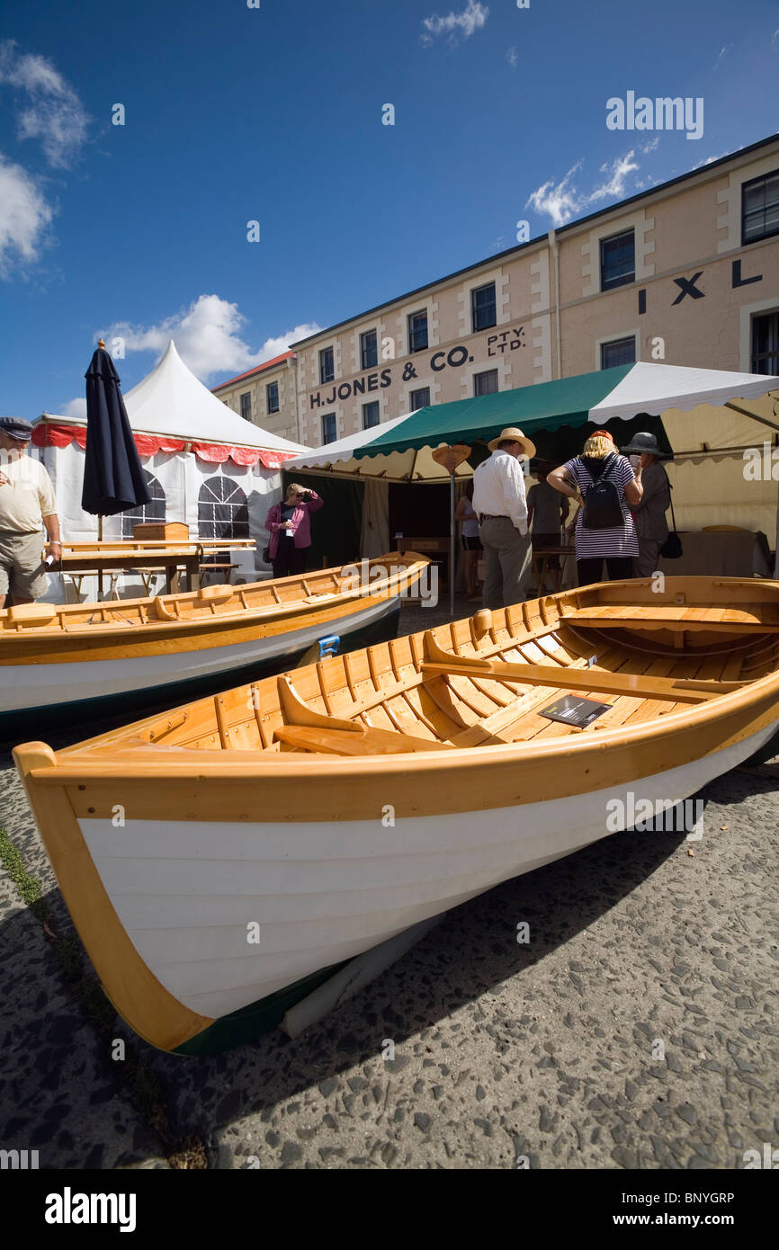 Visitors inspect handmade boats at the Wooden Boat Festival in Hobart.  Hobart, Tasmania, AUSTRALIA Stock Photo