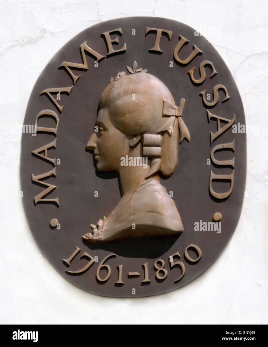 plaque of madame tussaud 1761 - 1850 wax work artist founded the madame tussard musum in london - Stock Image