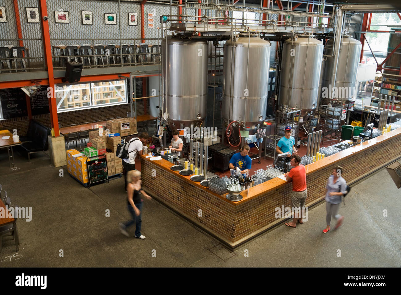 The bar at the Little Creatures Brewery - renowned for its home brewed ales. Fremantle, Western Australia, AUSTRALIA. - Stock Image