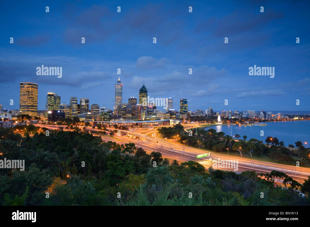 Dusk view of Perth from Kings Park. Perth, Western Australia, AUSTRALIA. - Stock Image
