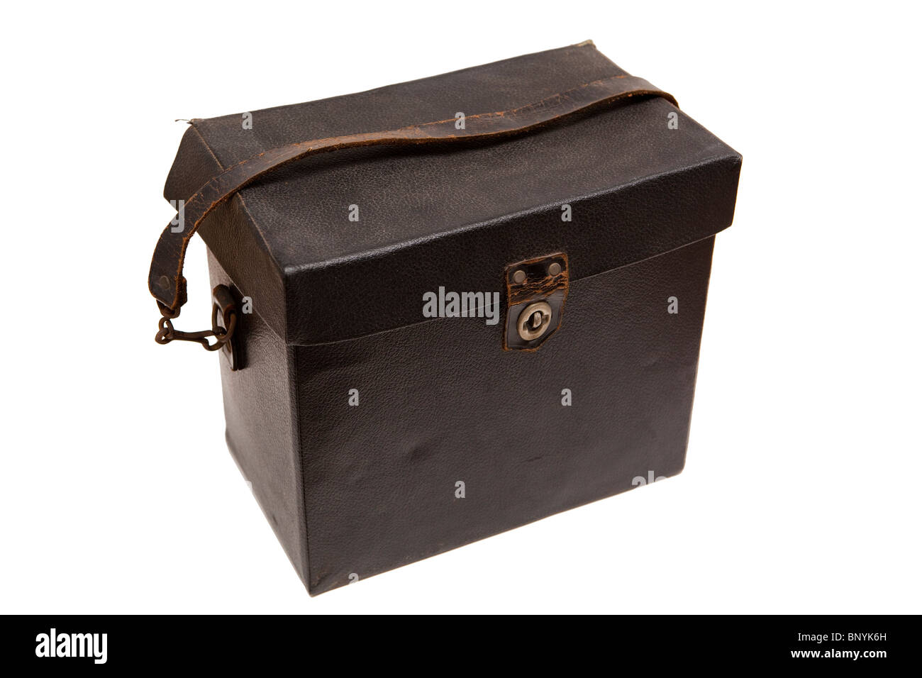 boxes, old black leather bound box - Stock Image