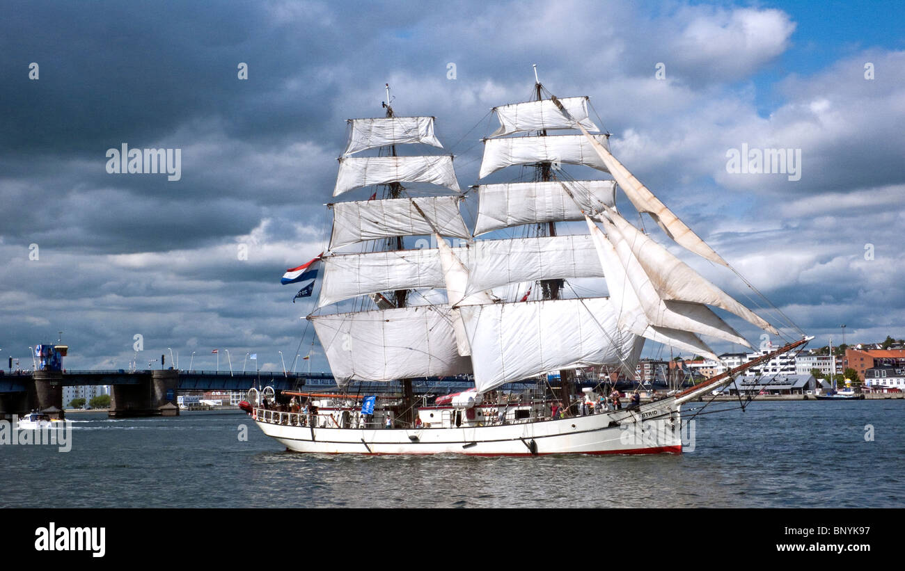 Dutch brig Astrid sailing ship leaving Aalborg during the Tall Ships Race 2010 - Stock Image