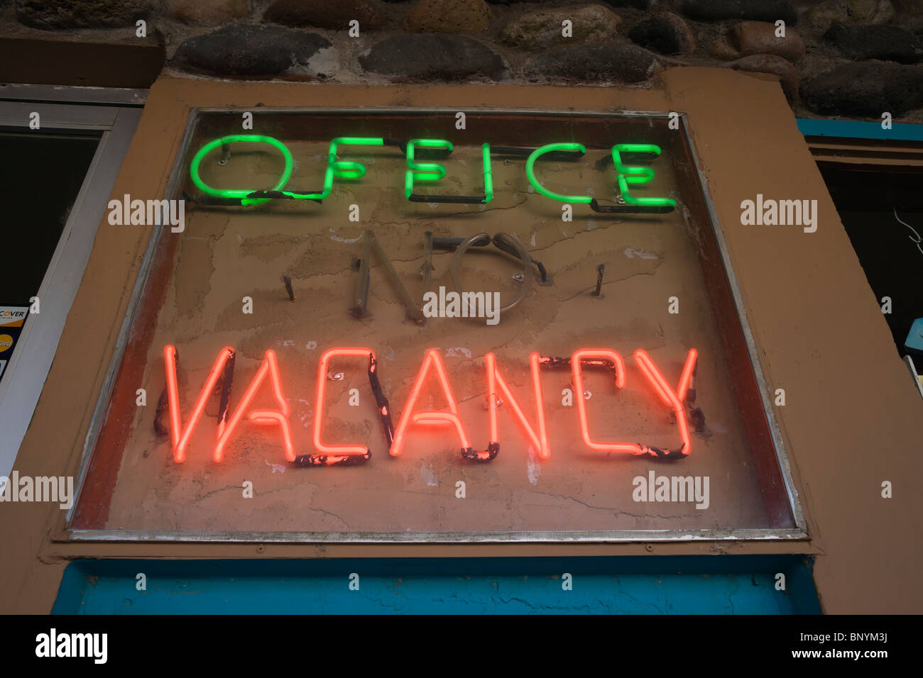 Cottonwood, Arizona, smalltown style city with antiques, art, books shops. Office Vacancy. - Stock Image