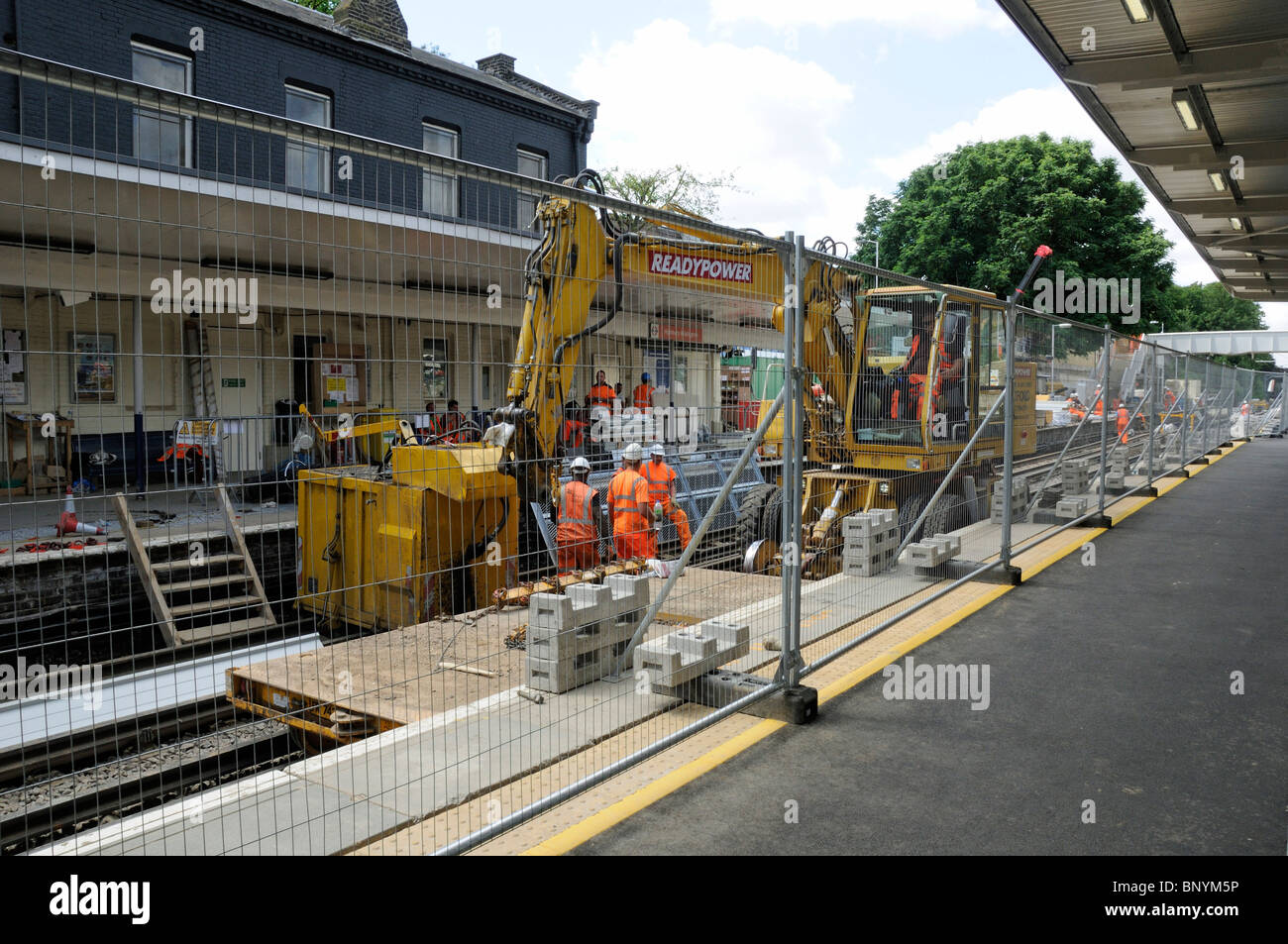 Construction work in progress on Highbury and Islington Station North London Overground Line England Britain UK - Stock Image