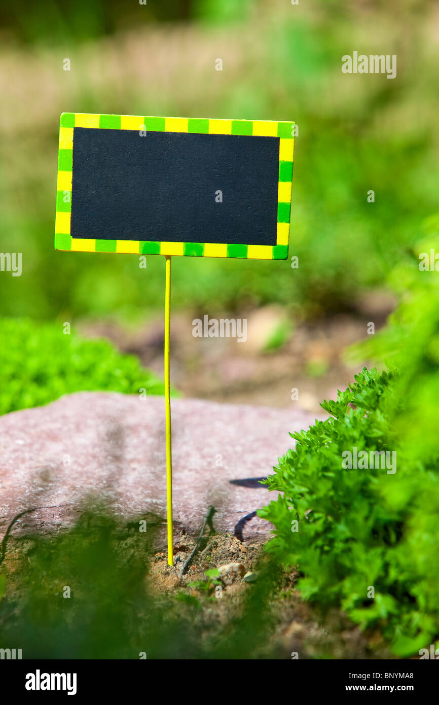 Small plate with space for text in garden. - Stock Image