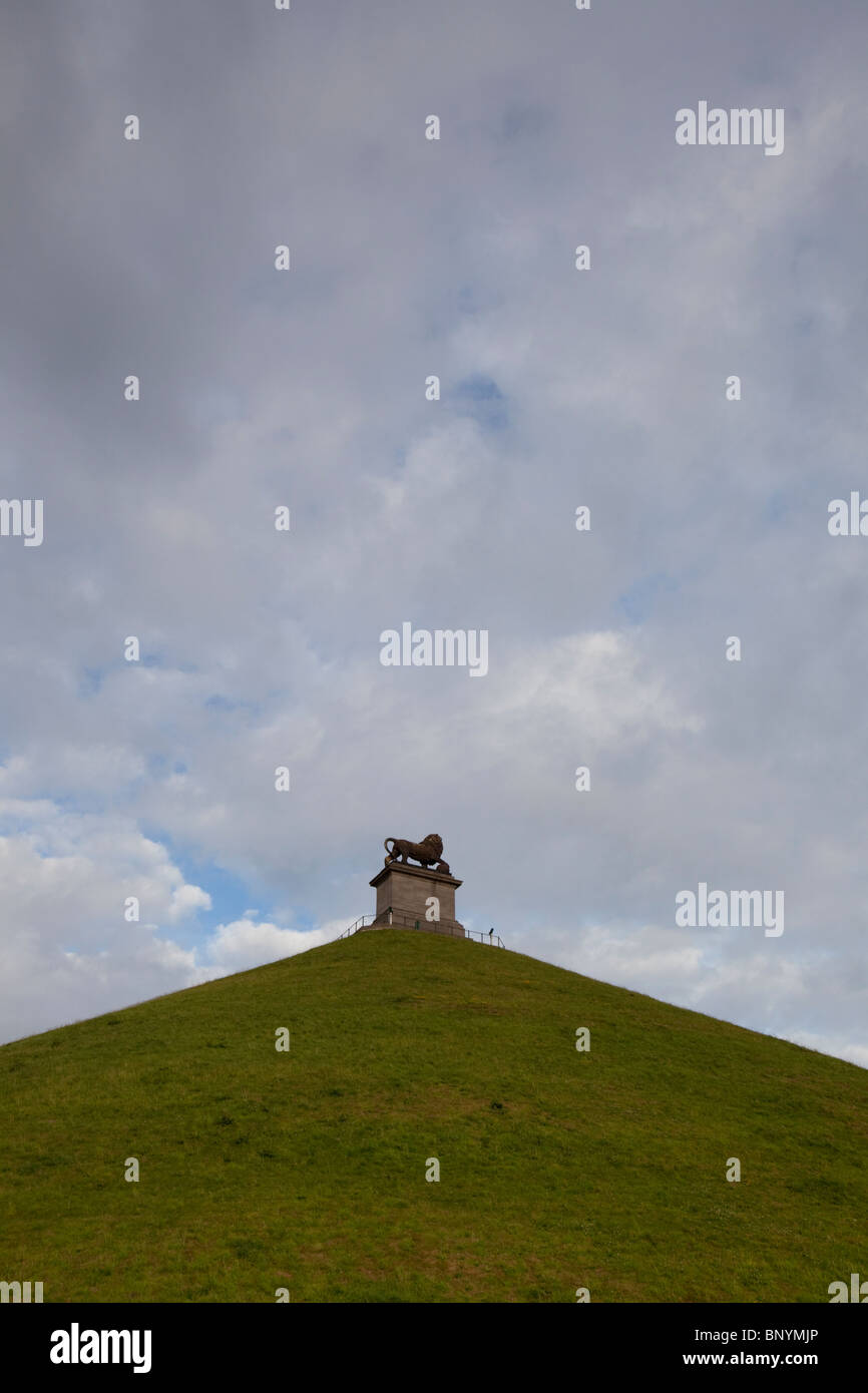 Shot of the Lion Mound, a monument marking the battle of Waterloo, Belgium. - Stock Image
