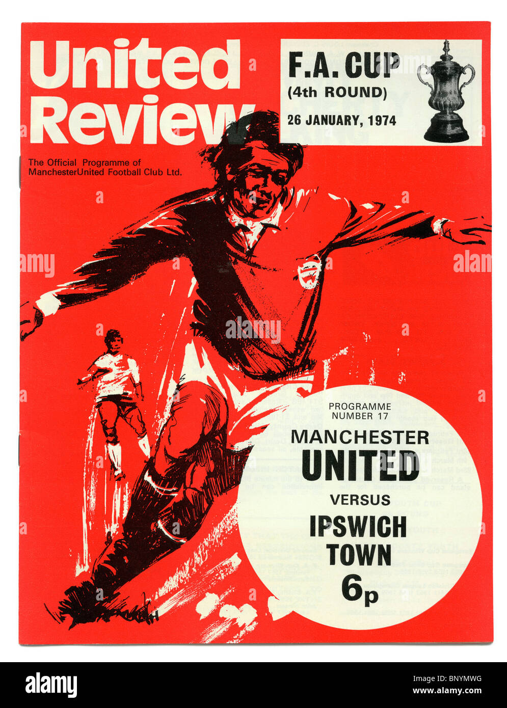 Manchester United football programme, priced at 6p, for the FA Cup 4th round match against Ipswich Town 26 January - Stock Image