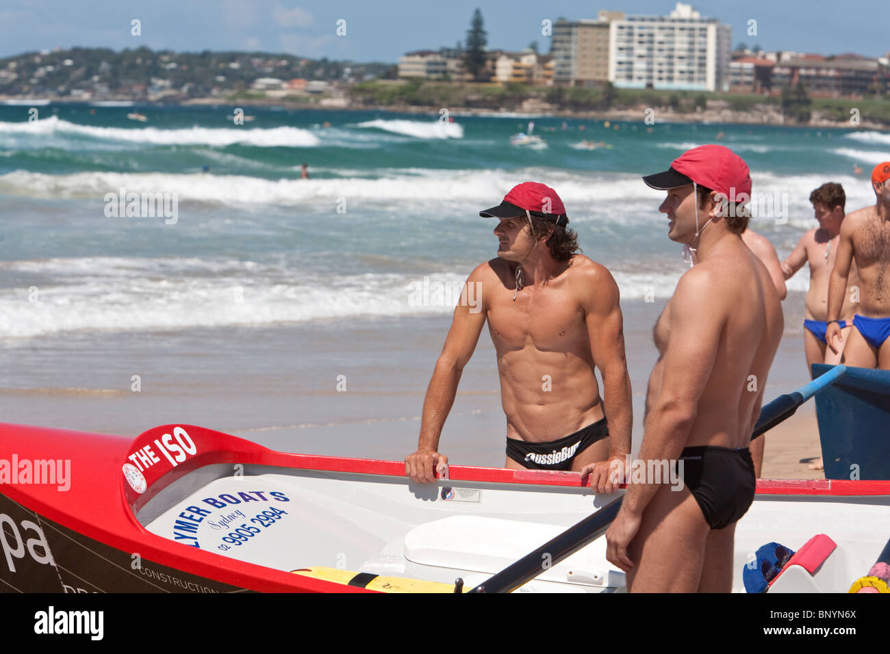 Surfboat crew during a surf carnival at Cronulla Beach.  Sydney, New South Wales, AUSTRALIA - Stock Image