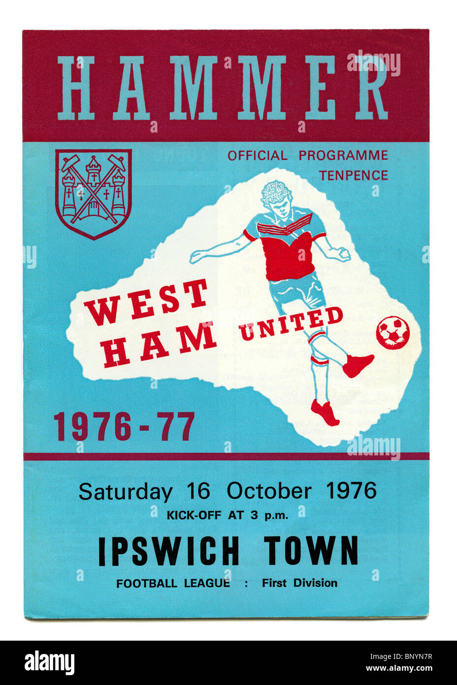 West Ham United football programme, priced at 10 pence, for the first division match against Ipswich Town 16 October - Stock Image