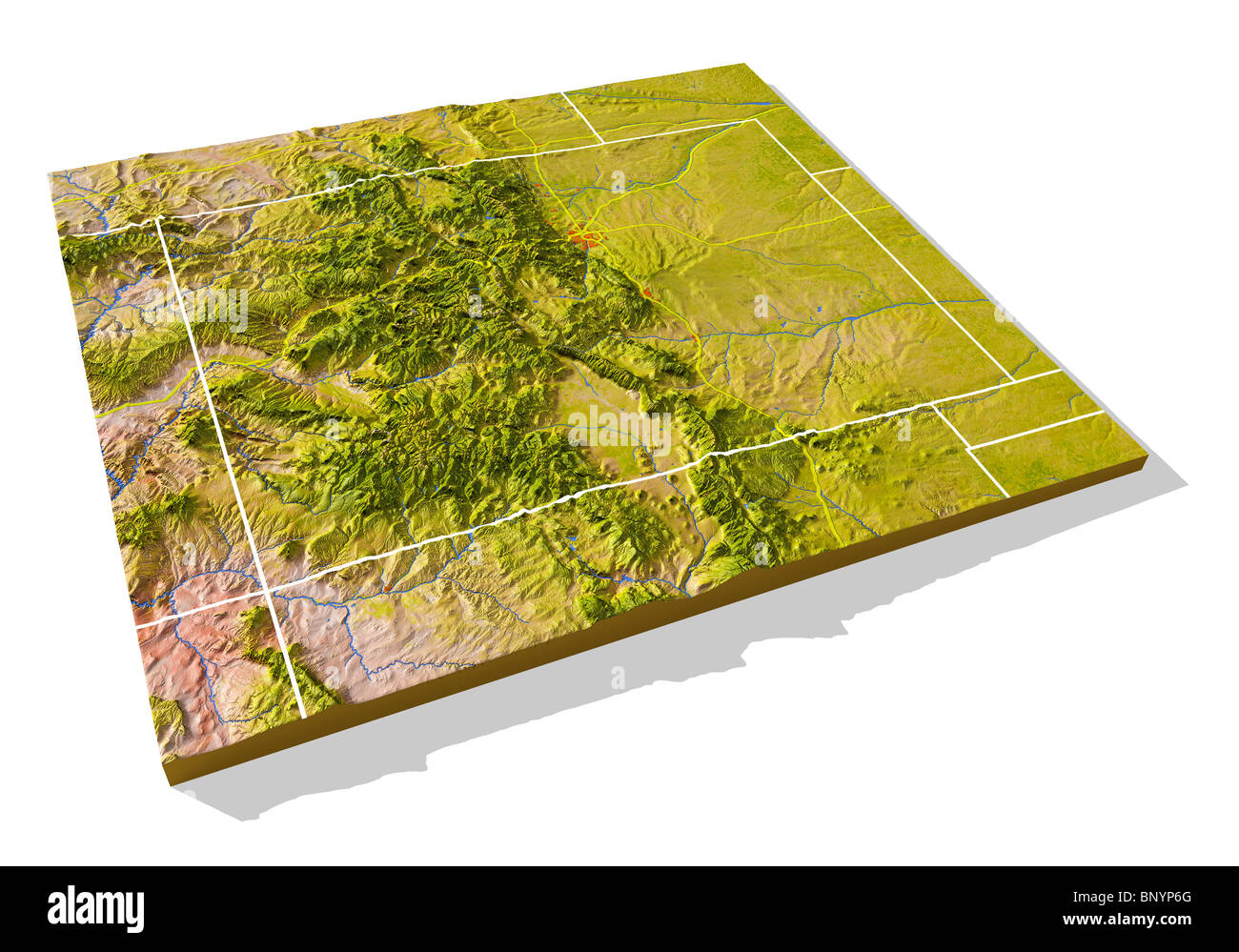 Colorado 3d Relief Map With Urban Areas Interstate Highways And Stock Photo Alamy