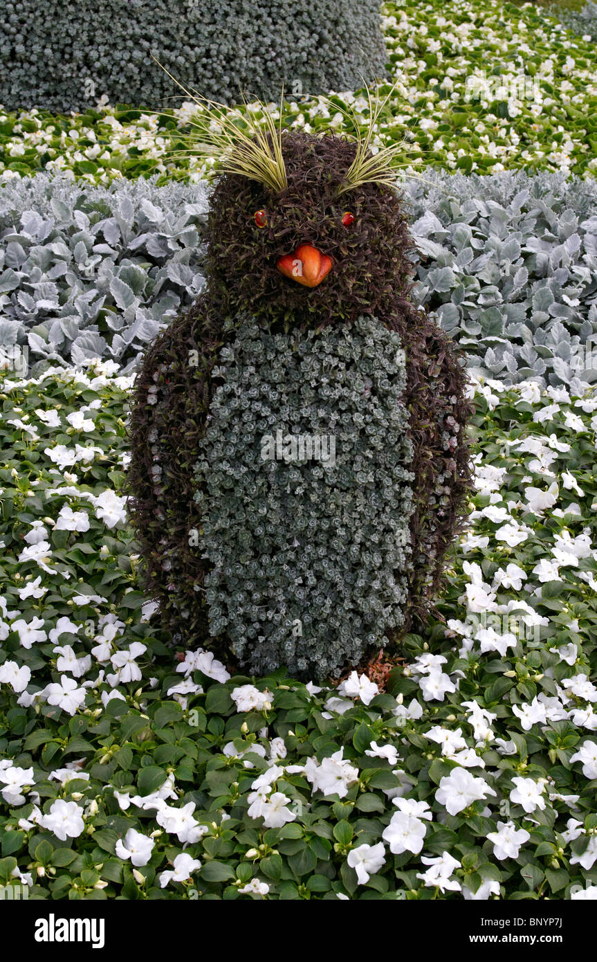 novelty decorative penguin figure made of flowers in a garden border