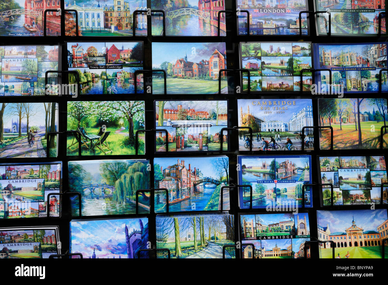 Postcards for sale , Cambridge, England, UK - Stock Image