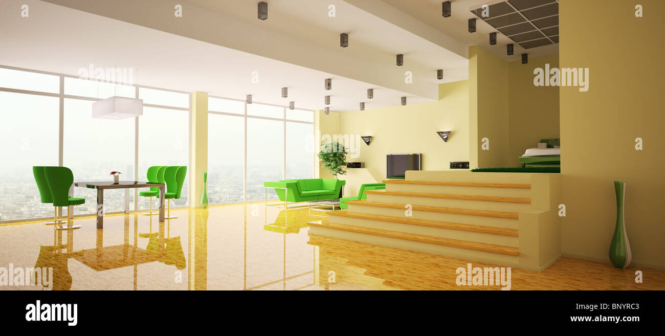 Modern apartment with yellow walls and wood floor interior panorama ...