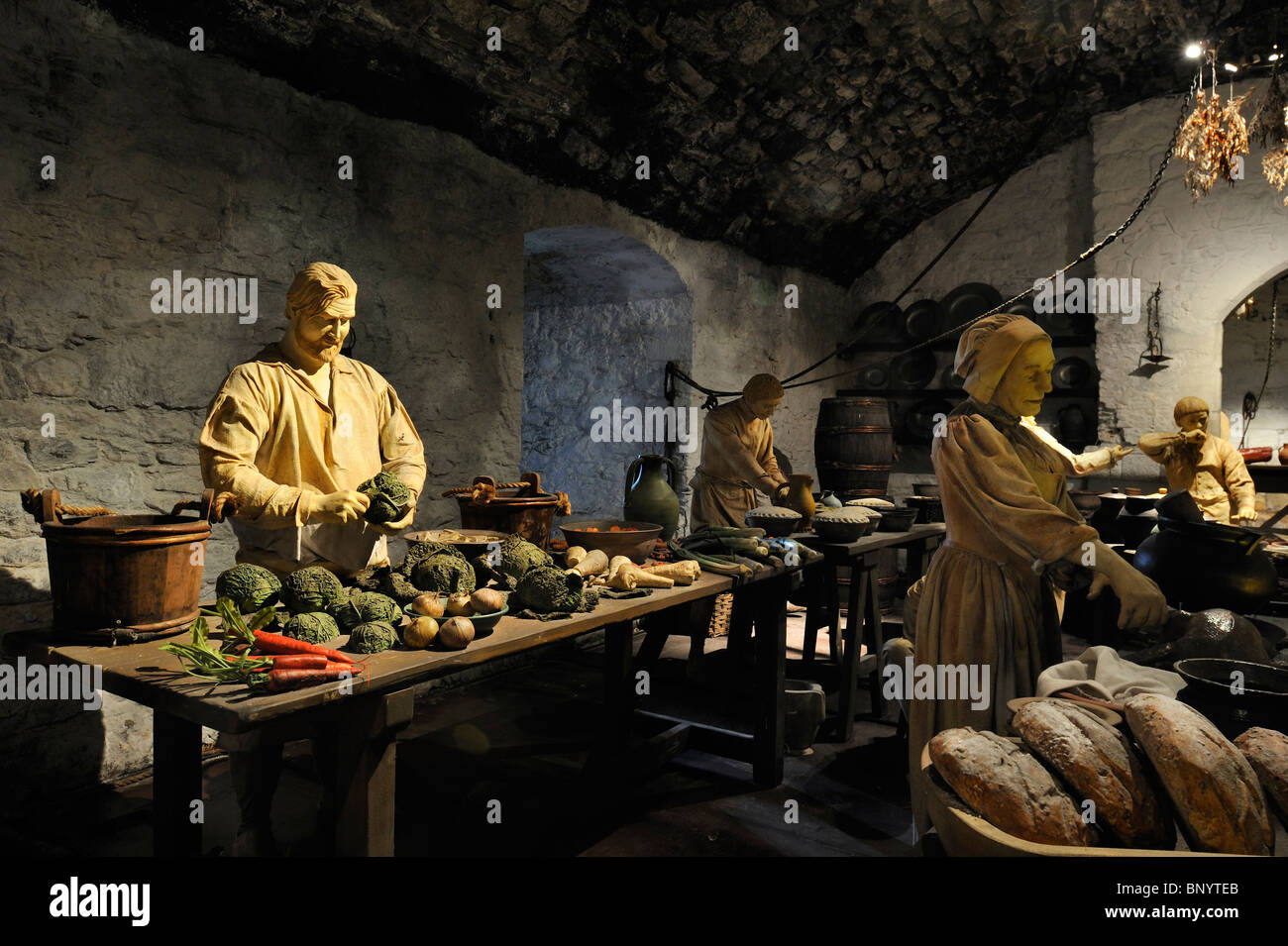 The Great Kitchens – dramatically bring to life how lavish banquets were created in James IV's day at Stirling Castle, - Stock Image