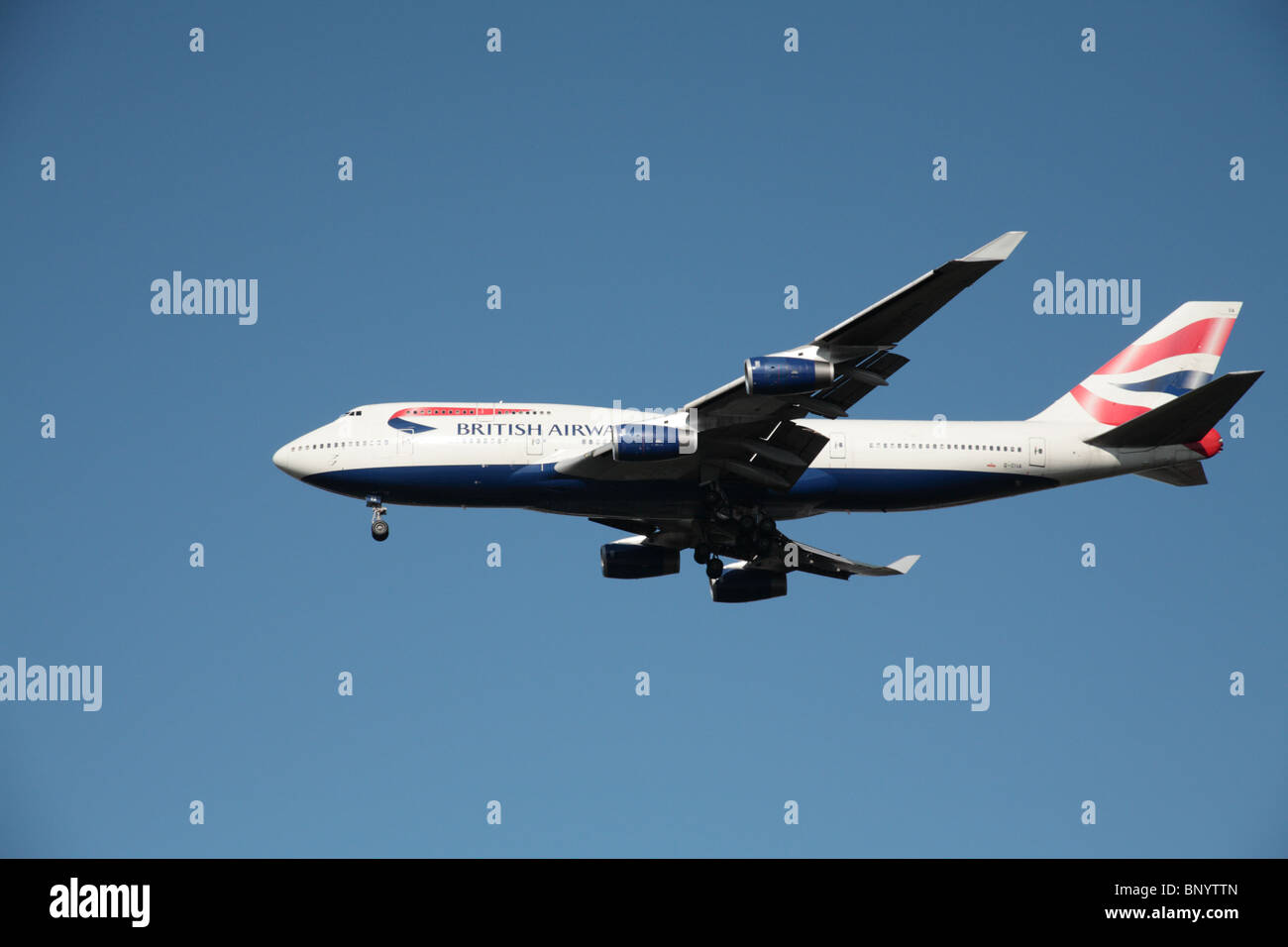 British Airways Boeing 747-436 on final approach to Heathrow Airport - Stock Image