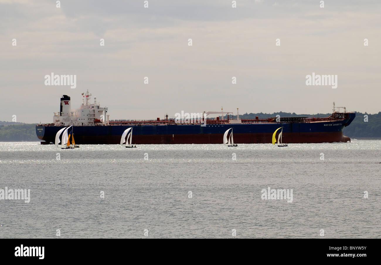 Navion Akarita a crude oil tanker ship seen on The Solent southern England UK - Stock Image