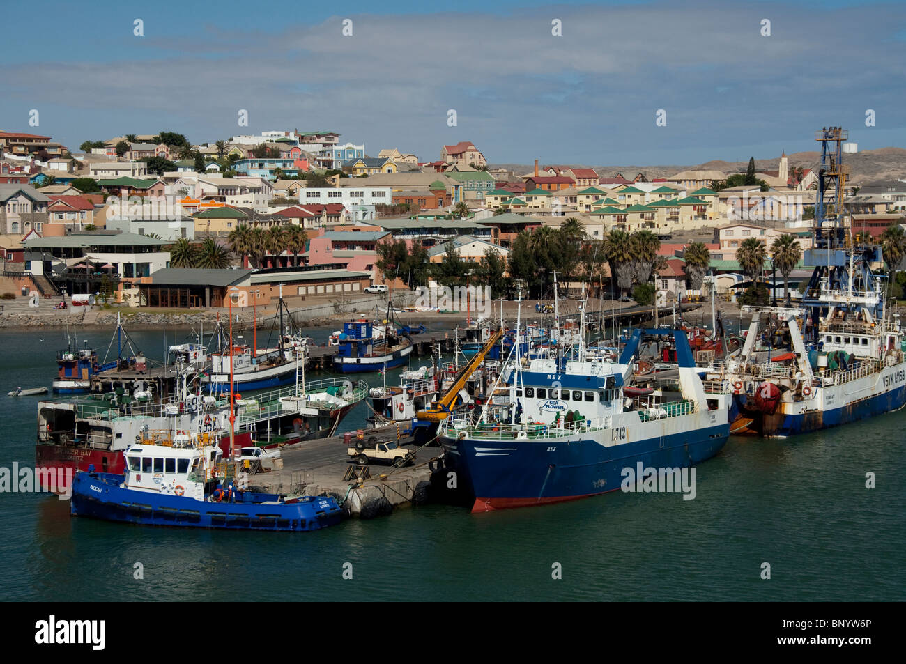 Africa, Namibia, Luderitz. Waterfront port area of Luderitz, fishing boats. - Stock Image