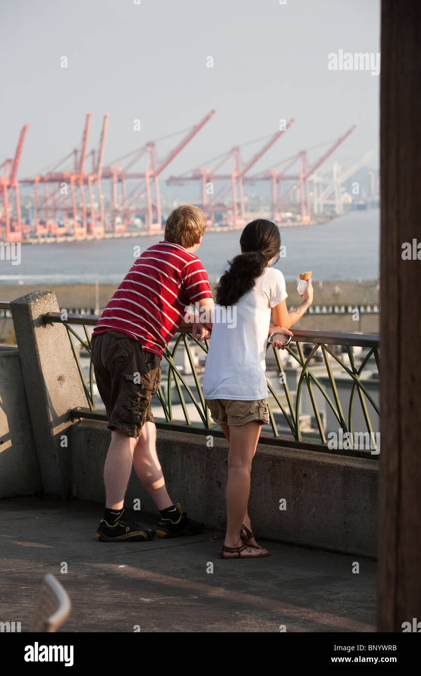 Young Couple at Victor Steinbrueck Park - Seattle, Washington - Stock Image