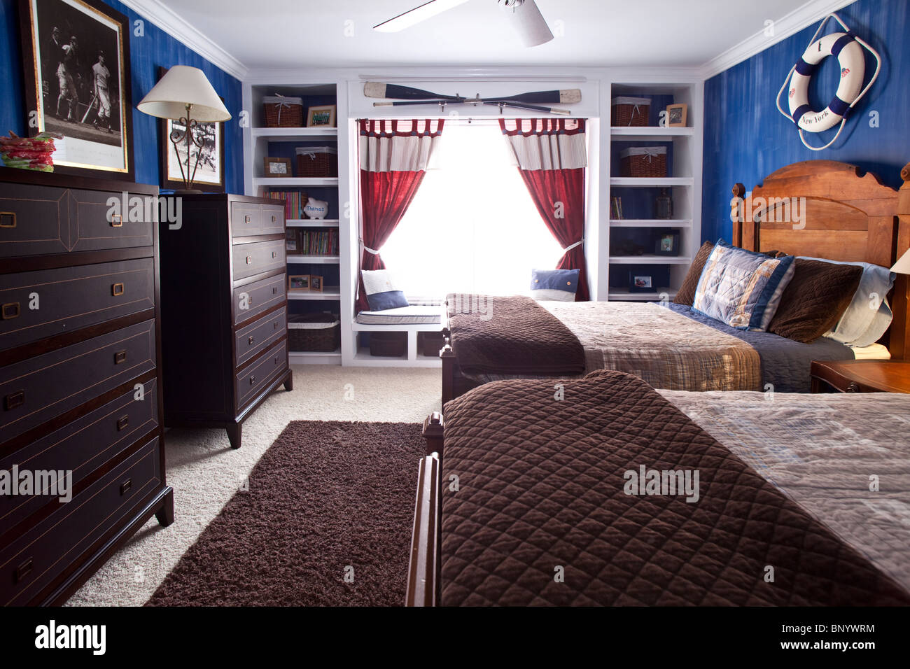 Boys bedroom in marine style american home stock photo
