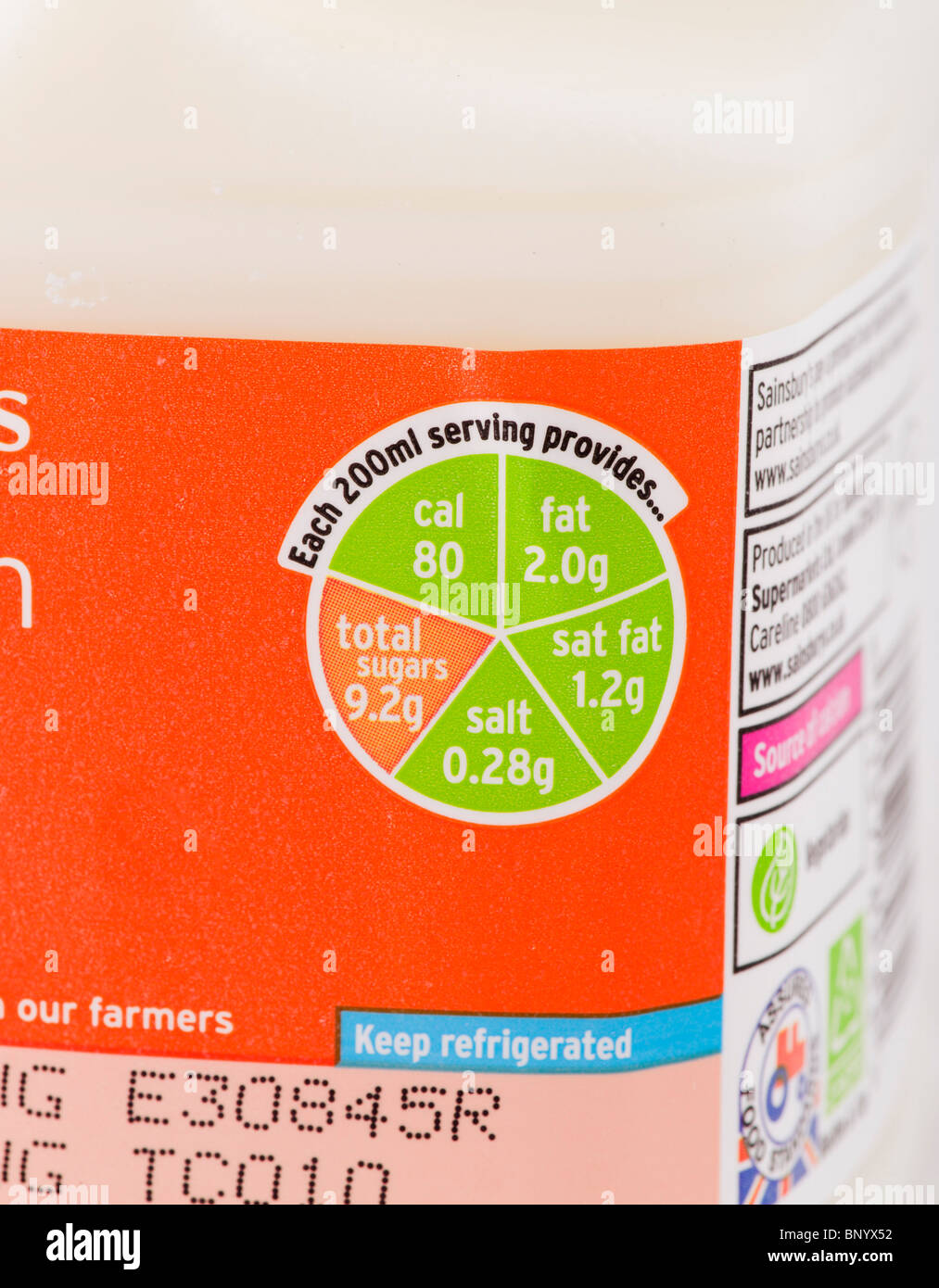 'Traffic Light' label on a carton of Sainsbury's low fat milk Stock Photo