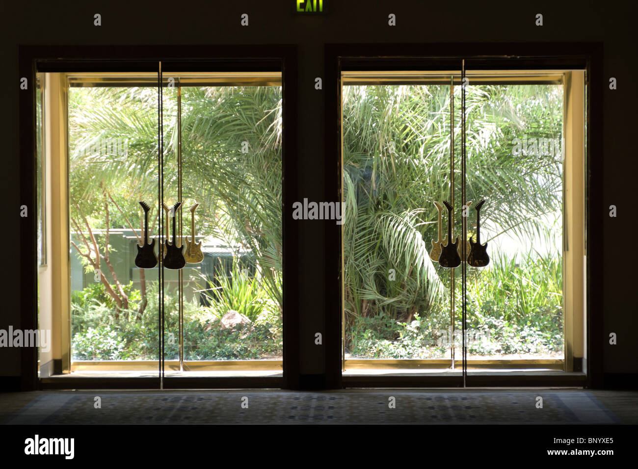 Las Vegas USA - Hard Rock Hotel glass doors to exit to garden with guitar shape handles. & Las Vegas USA - Hard Rock Hotel glass doors to exit to garden with ...