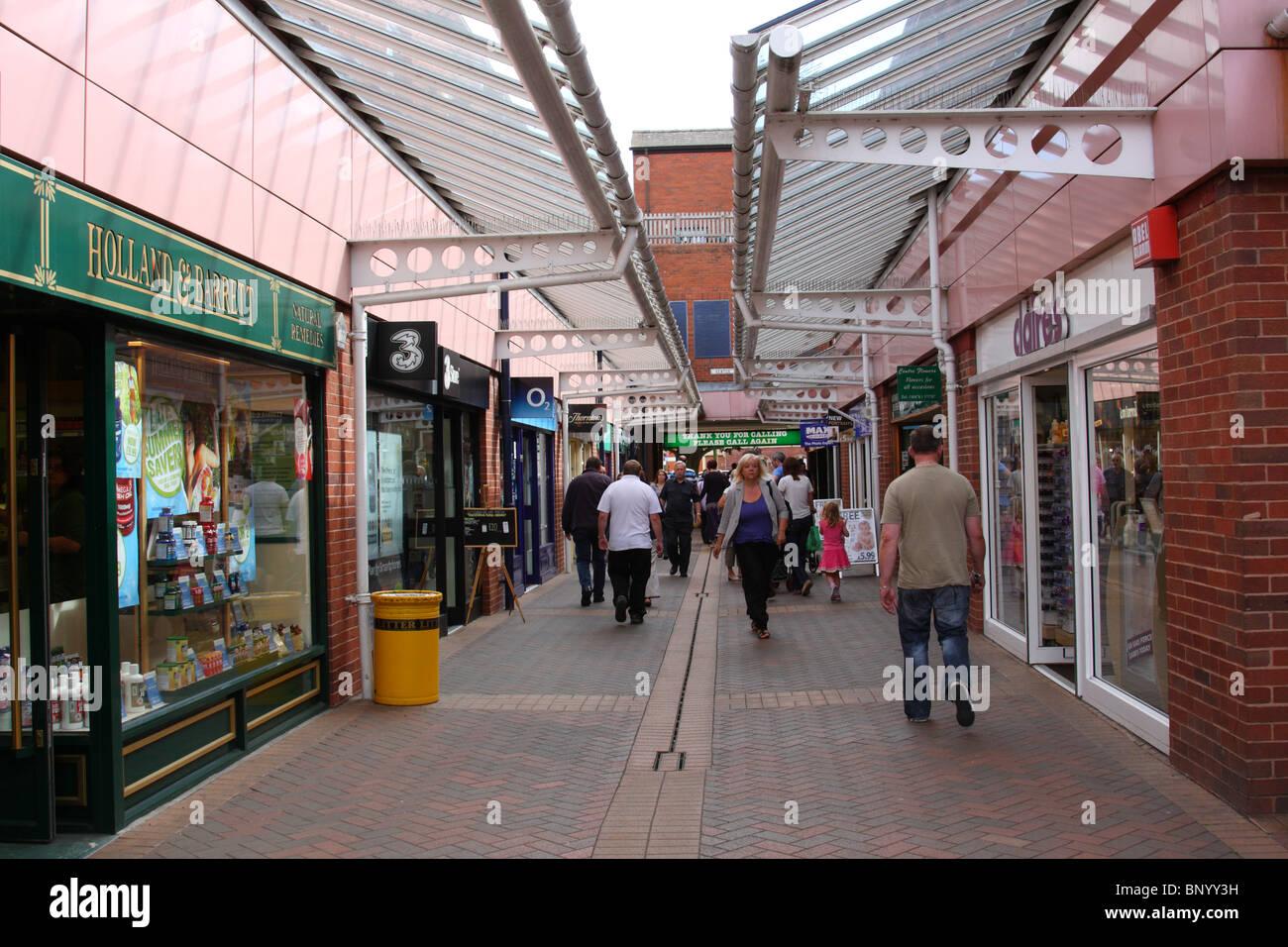 A shopping precinct in Grantham, Lincolnshire, England, U.K. - Stock Image