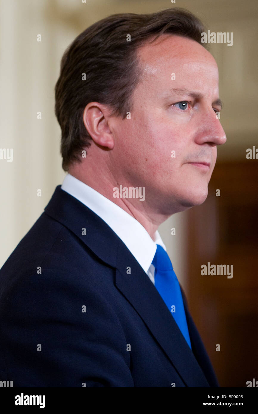 UK Prime Minister David Cameron participates in a Joint Press Conference at the White House. - Stock Image