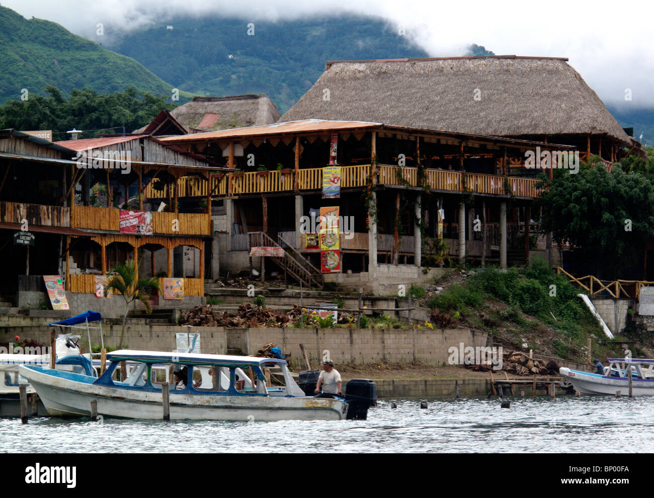 The boat dock at Panajachel on the shores of Lake Atitlan in Guatemala - Stock Image