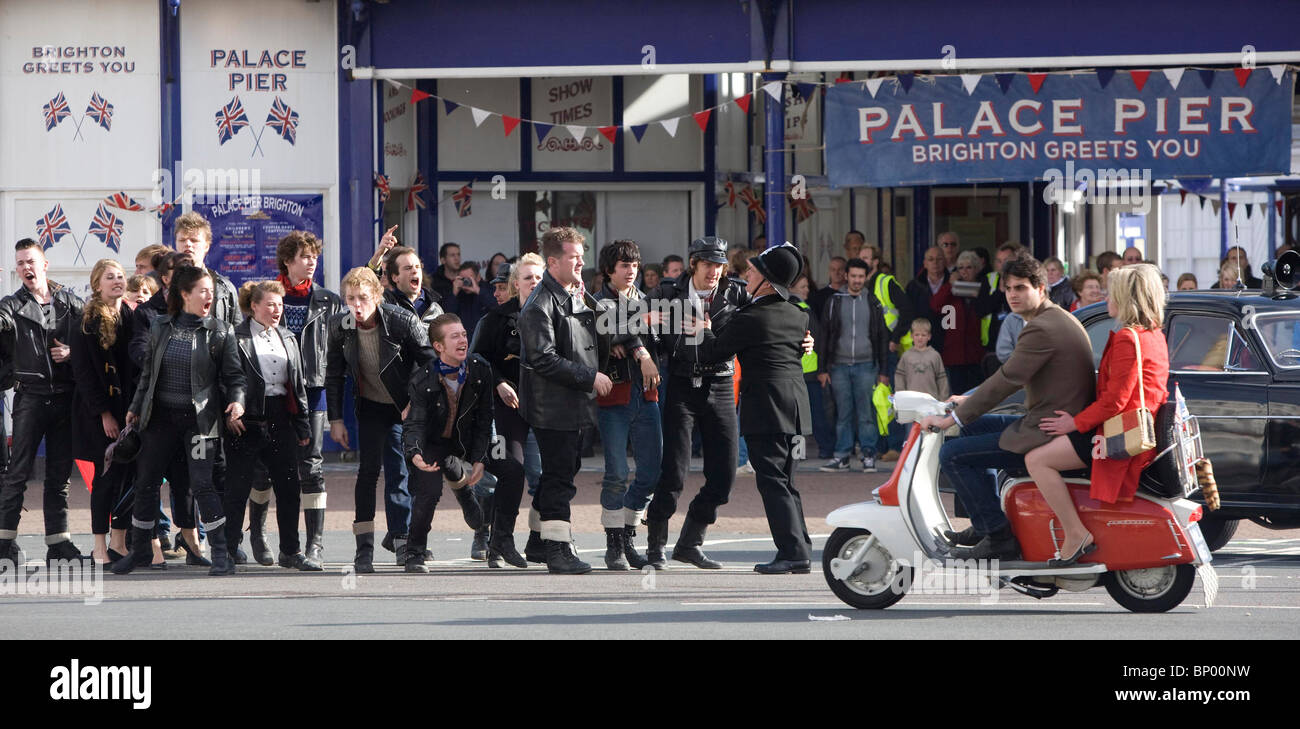Actors and extras seen during the filming of Brighton Rock in Eastbourne. Picture by James Boardman - Stock Image