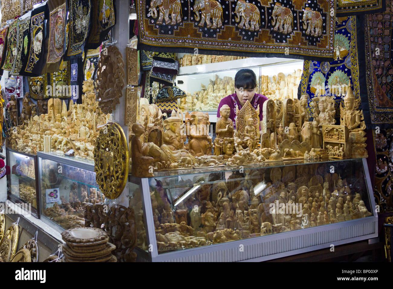 woodwork store in Bogyoke Aung San Market, formerly Scott's Market, Yangon, Mmanmar - Stock Image